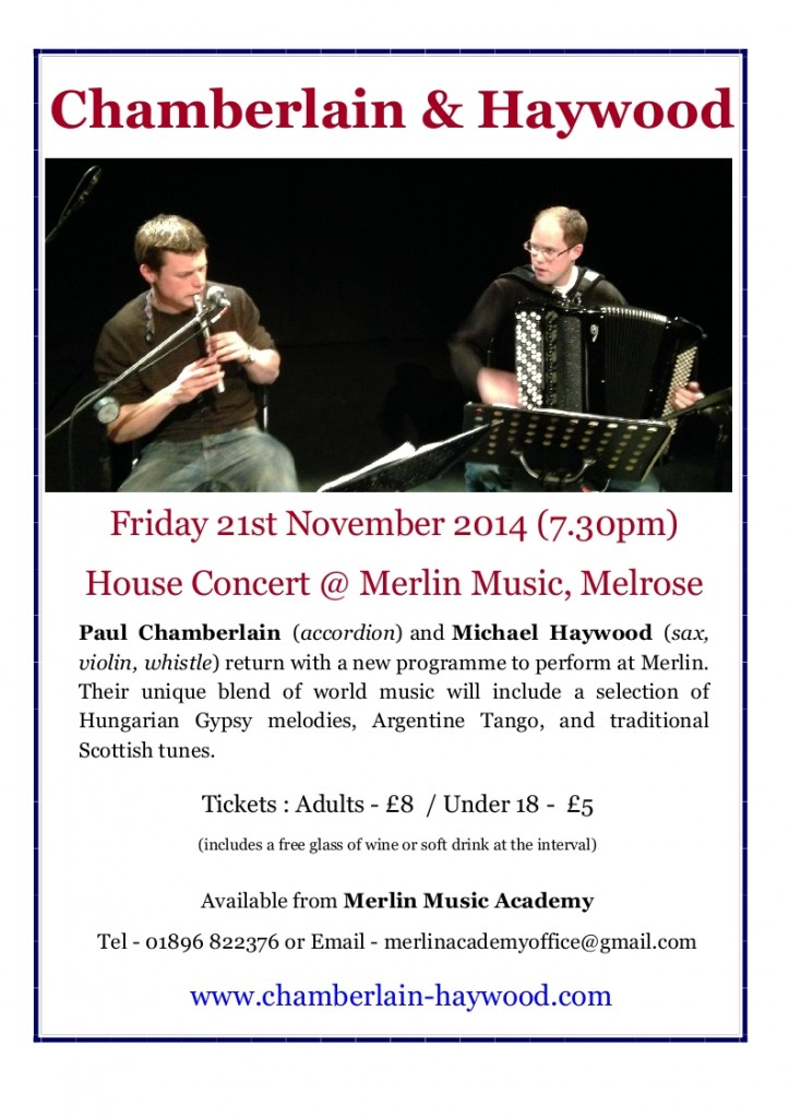 Chamberlain & Haywood at Merlin Music 21st November 2014