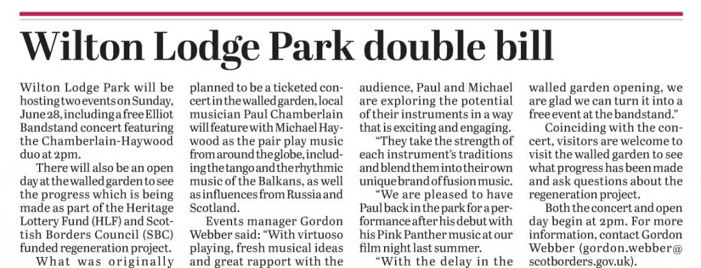 Chamberlain & Haywood perform in Hawick on Sunday 28th June.