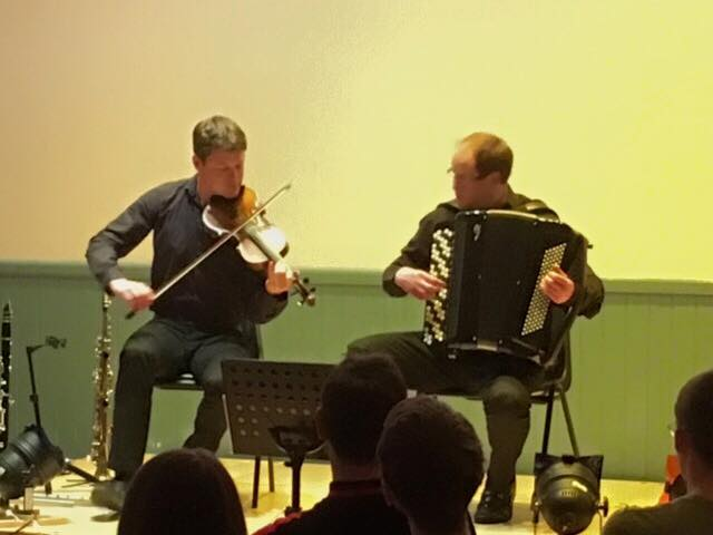 Chamberlain & Haywood performing in Bowden Village Hall